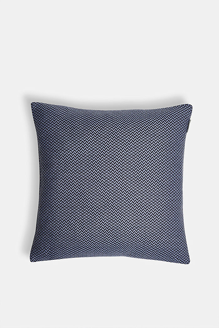 Cushion cover with a herringbone texture, BLUE, overview