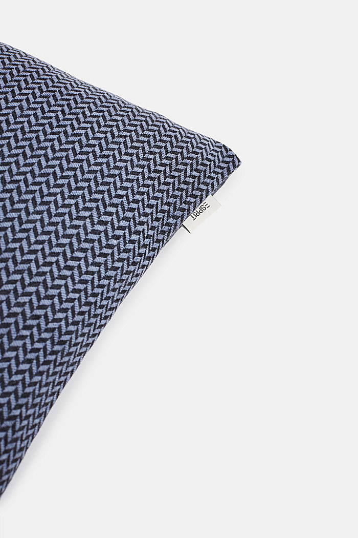 Cushion cover with a herringbone texture, BLUE, detail image number 0