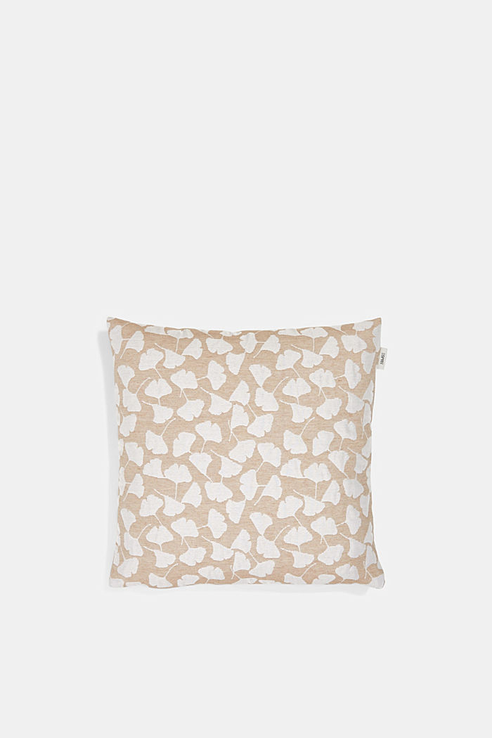 Cushion cover with a gingko intarsia pattern, CARAMEL, detail image number 0