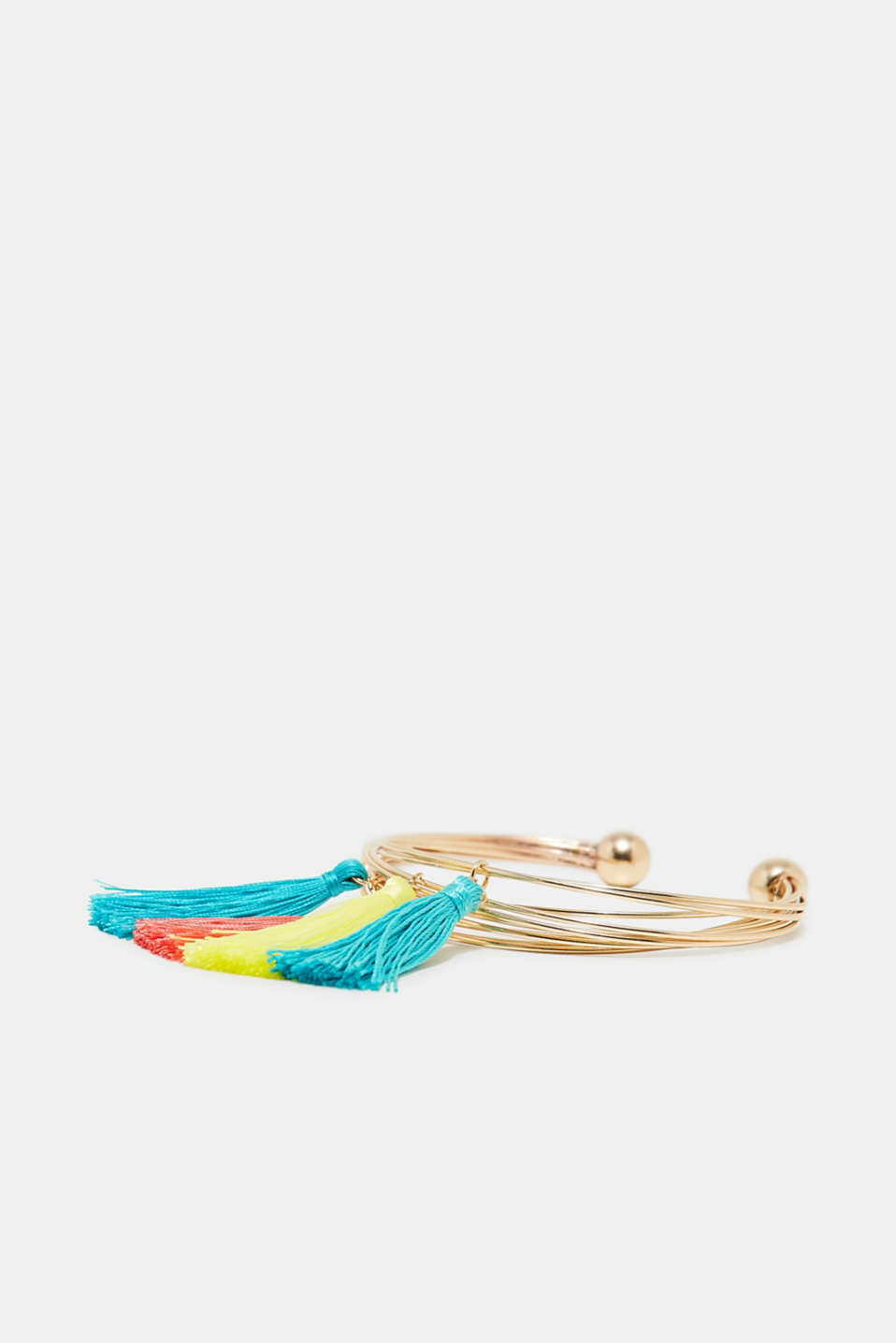 Bangle with colourful tassels