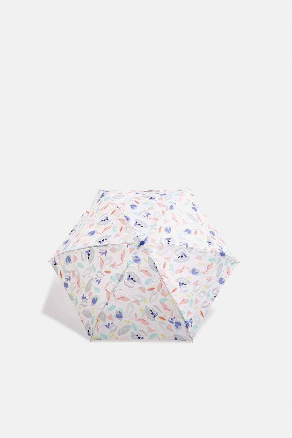 Pocket umbrella with pastel flowers, 1COLOR, detail image number 0