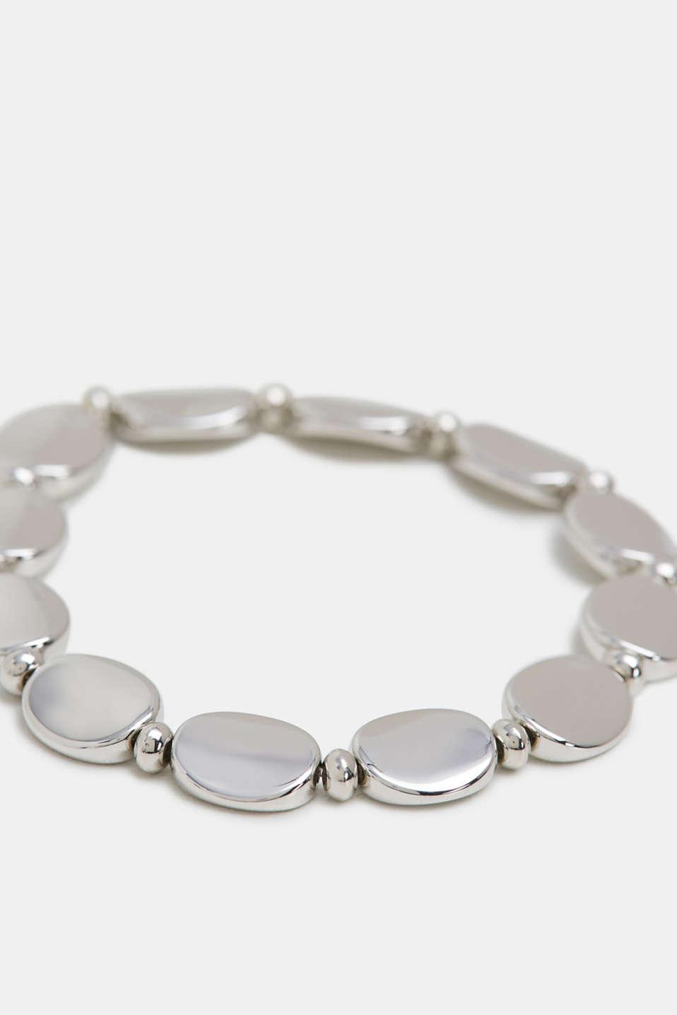 Elasticated metal bracelet, SILVER, detail image number 1