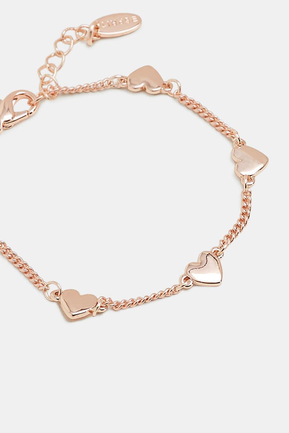 Bracelet with heart pendants, ROSEGOLD, detail image number 1