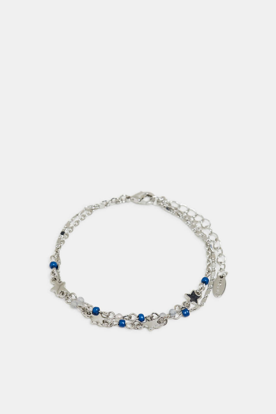Double-strand bracelet with star charms, SILVER, detail image number 0