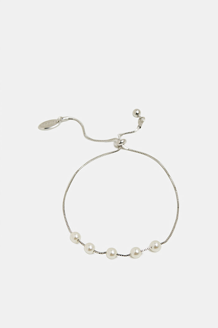 Bracelet with little faux pearls, SILVER, detail image number 0
