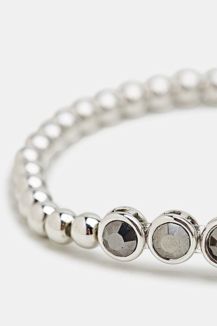 Stretchy metallic bracelet with beads, ONE COLOUR, detail image number 1