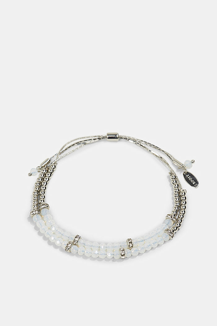 Two-strand bracelet with glass beads, WHITE, overview