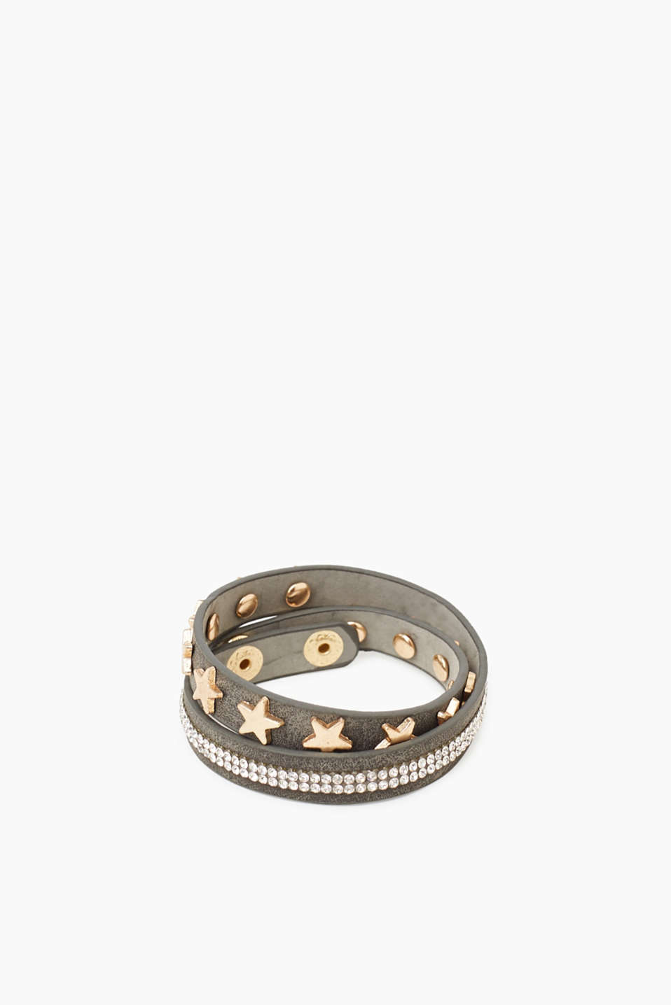 Esprit - Armband in Leder-Optik mit Strass-Dekor