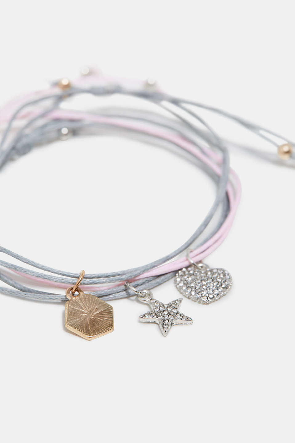Three bracelets with charms