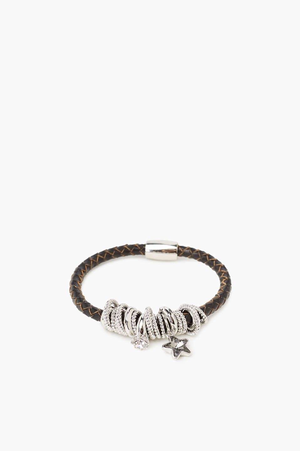 Esprit - Leather bracelet with charms