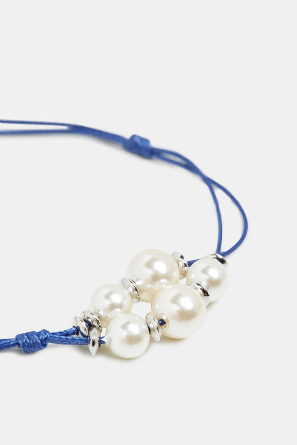 Fine cord bracelet with beads, BLUE, detail image number 1