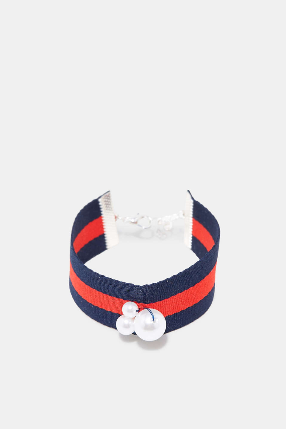 Esprit - Striped woven bracelet with beads
