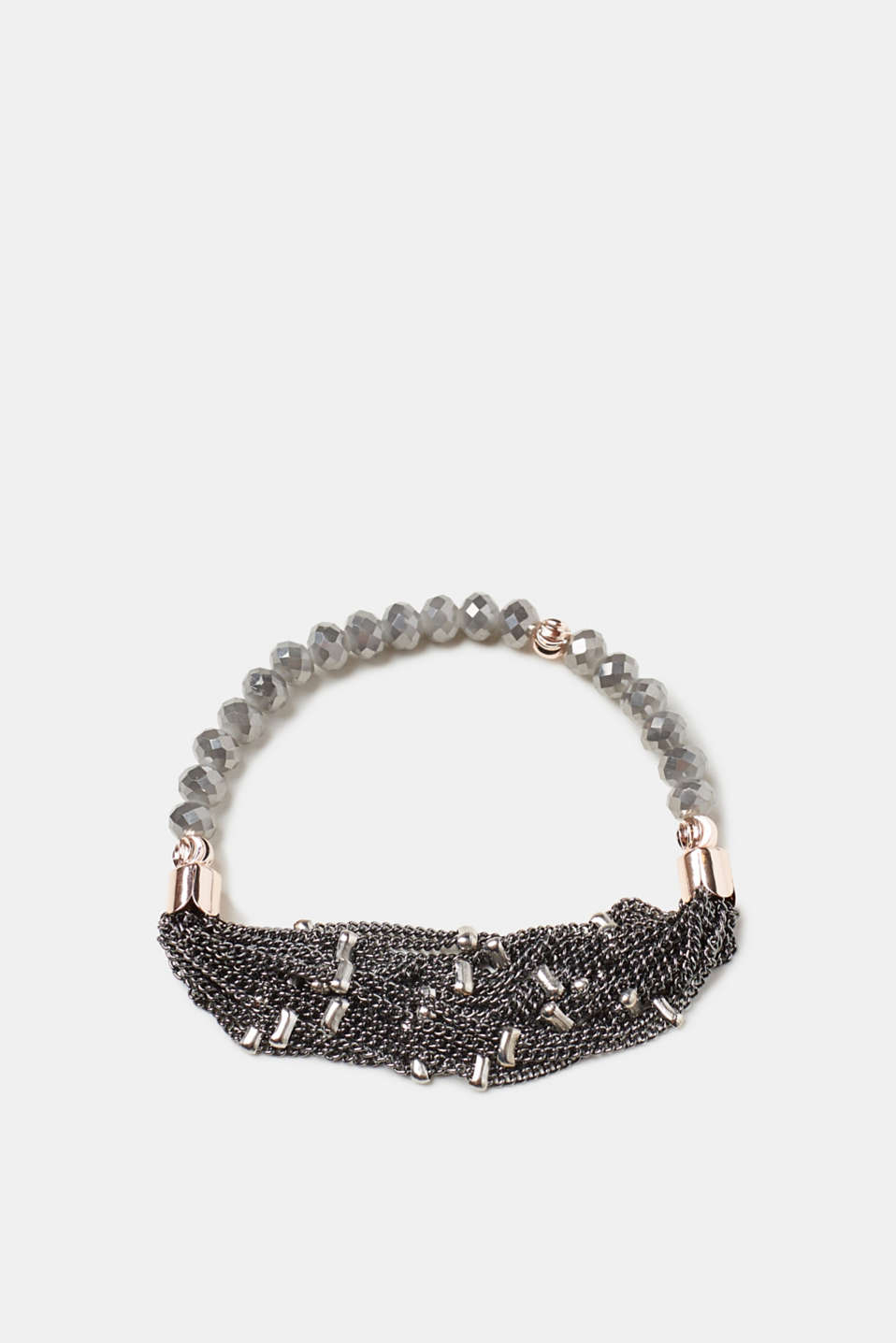 Sophisticated material mix: This slightly elastic double bracelet is made up of numerous beads and chains!