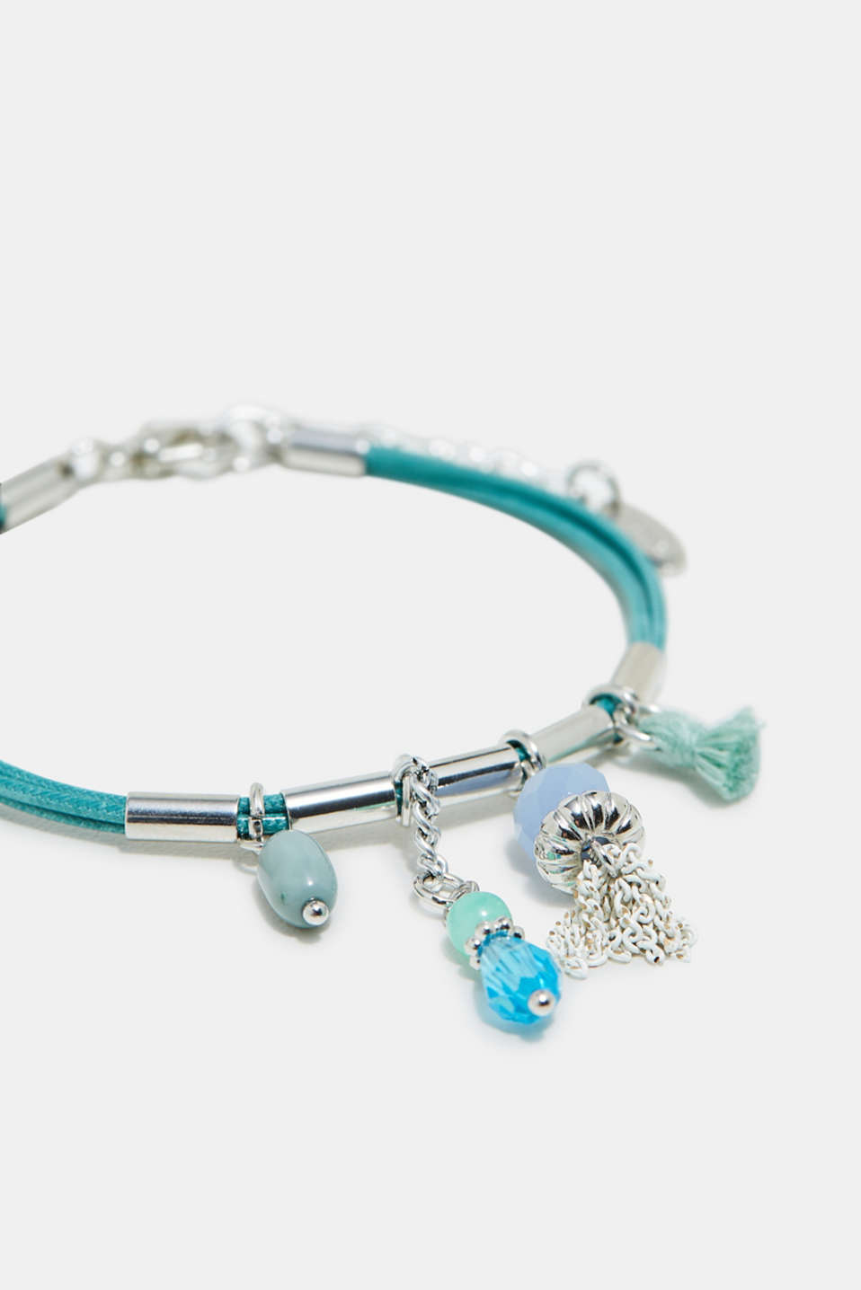 Three-strand bracelet with charms