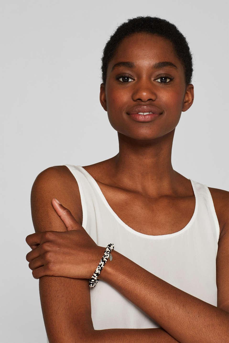 Black/white bead bracelet, BLACK, detail image number 2