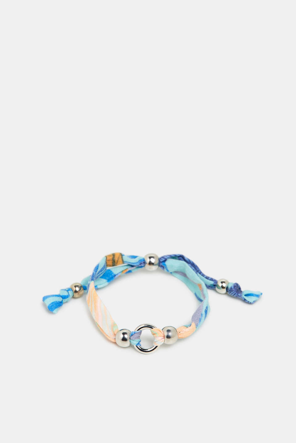 Fabric bracelet with metal beads, BLUE, detail image number 0