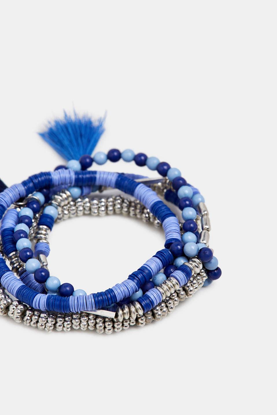 Set of bead bracelets with tassels, BLUE, detail image number 1