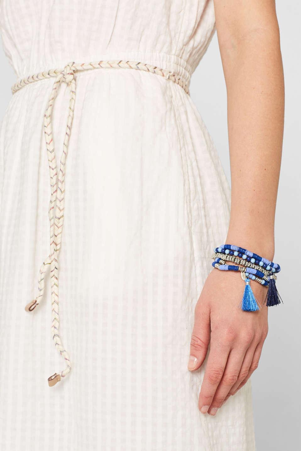 Set of bead bracelets with tassels, BLUE, detail image number 2