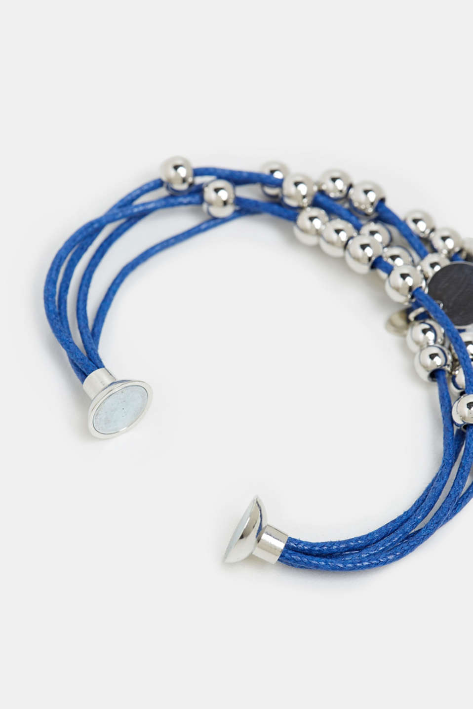 Textile bracelet with beads and a shell charm, BLUE, detail image number 1