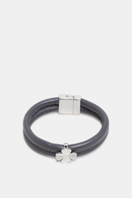 Faux leather bracelet with a pendant, GREY, detail
