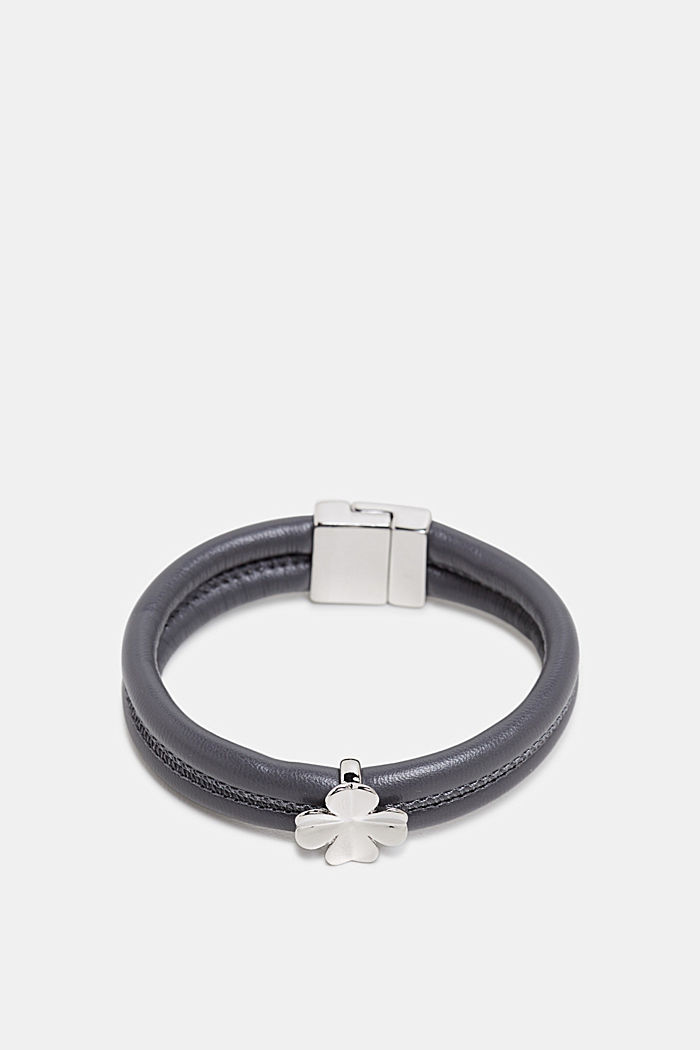 Faux leather bracelet with a pendant, SILVER, detail image number 0