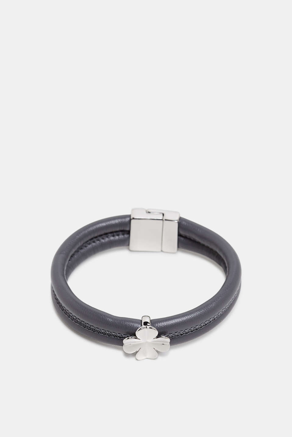 Faux leather bracelet with a pendant, GREY, detail image number 0