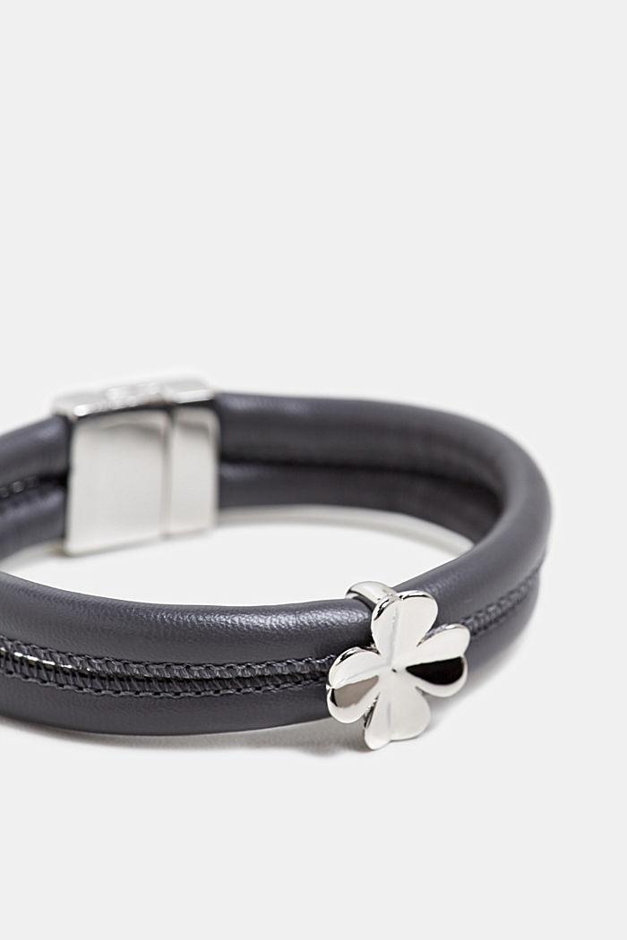 Armband met hanger, in leerlook, SILVER, detail image number 1