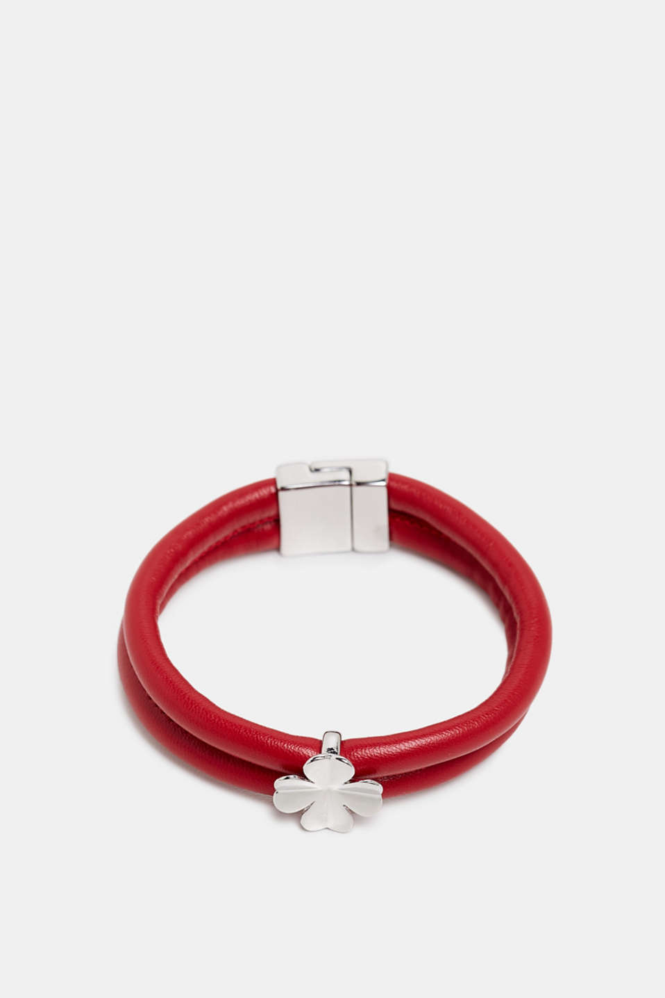 Faux leather bracelet with a pendant, RED, detail image number 0