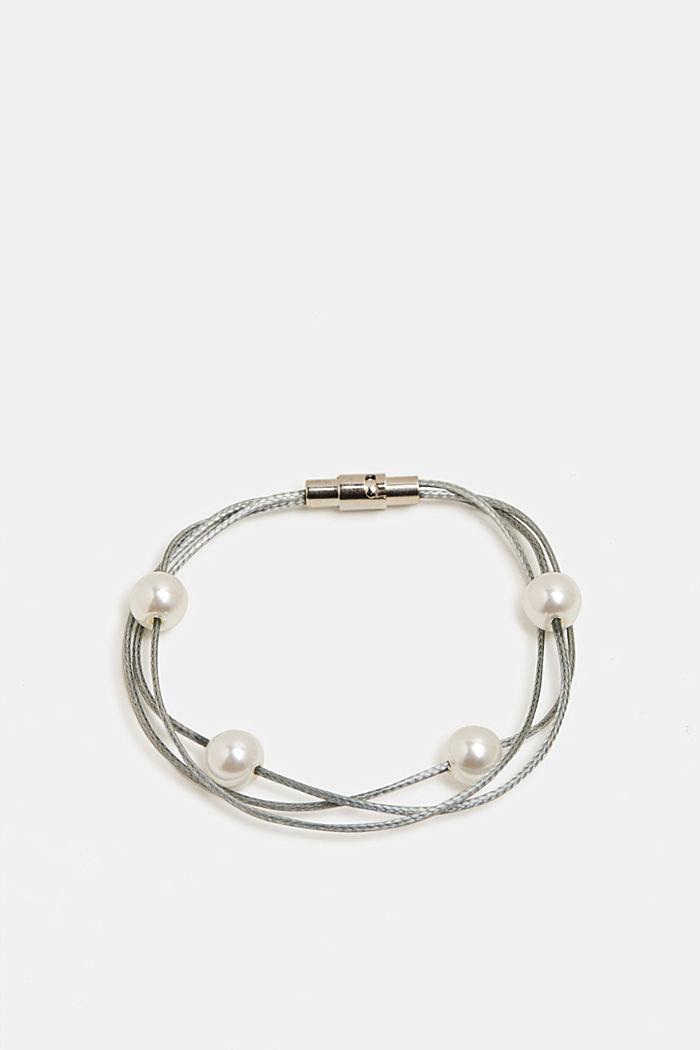 Plastic bead bracelet, SILVER, detail image number 0