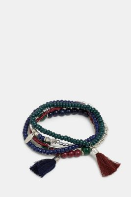 5 pack of elastic bracelets with beads, RED, detail