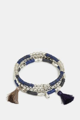 3-pack of stretchy bracelets with beads, BLUE, detail