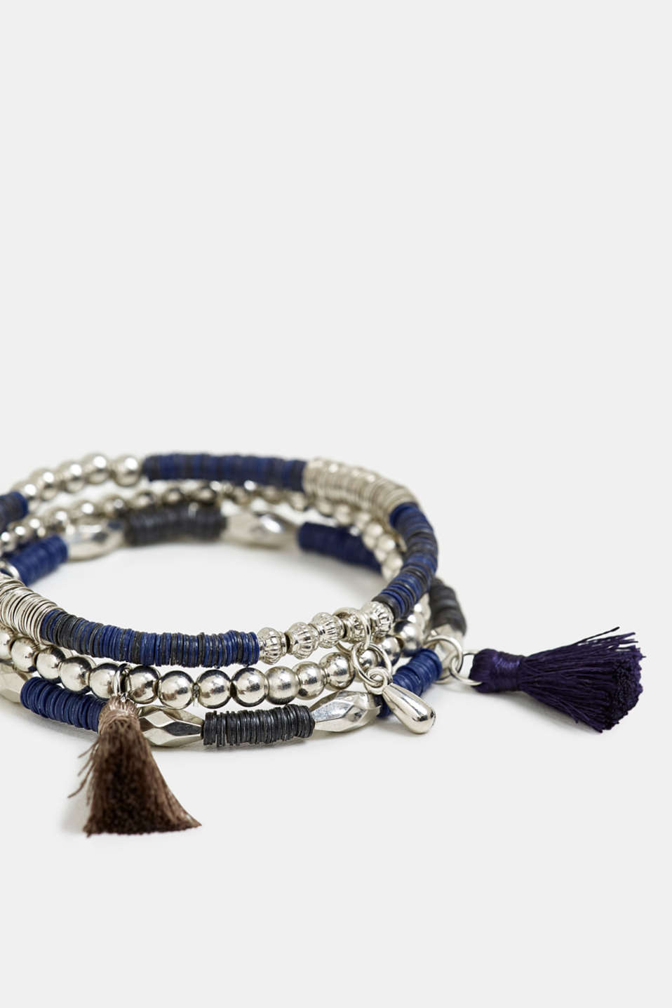 3-pack of stretchy bracelets with beads, BLUE, detail image number 1