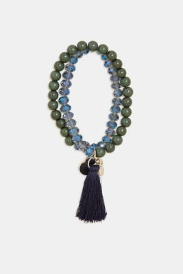 Wraparound bracelet with tassel, BLUE, detail