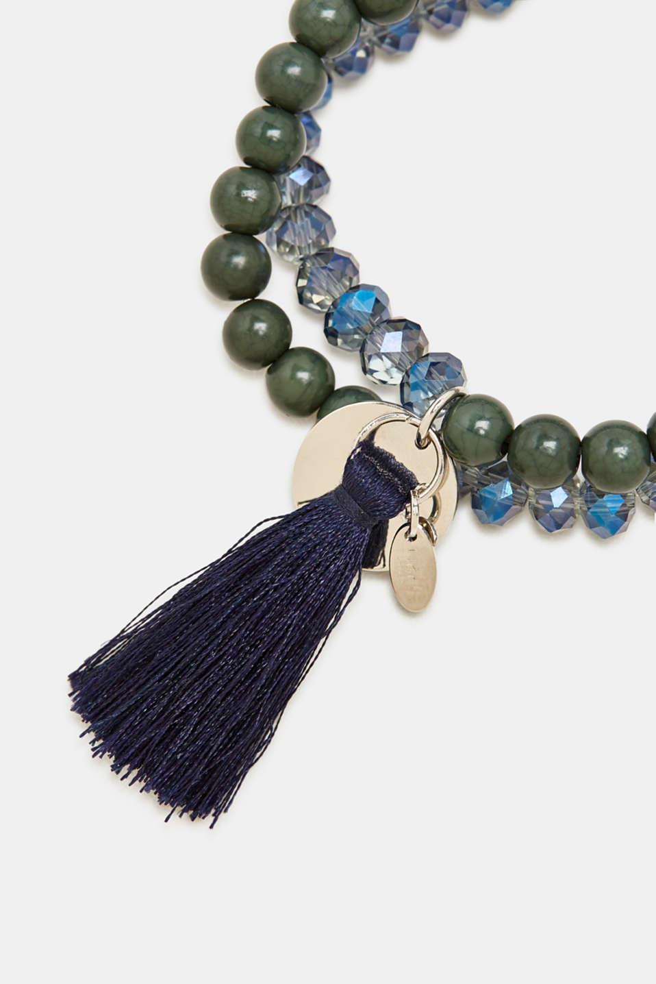 Wraparound bracelet with tassel, BLUE, detail image number 1