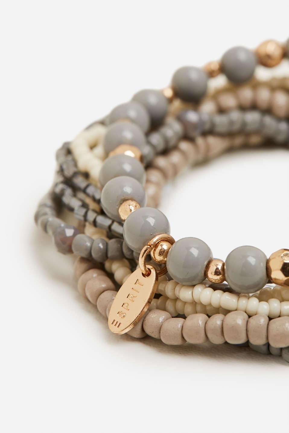 Set of nine bead bracelets, GREY, detail image number 1
