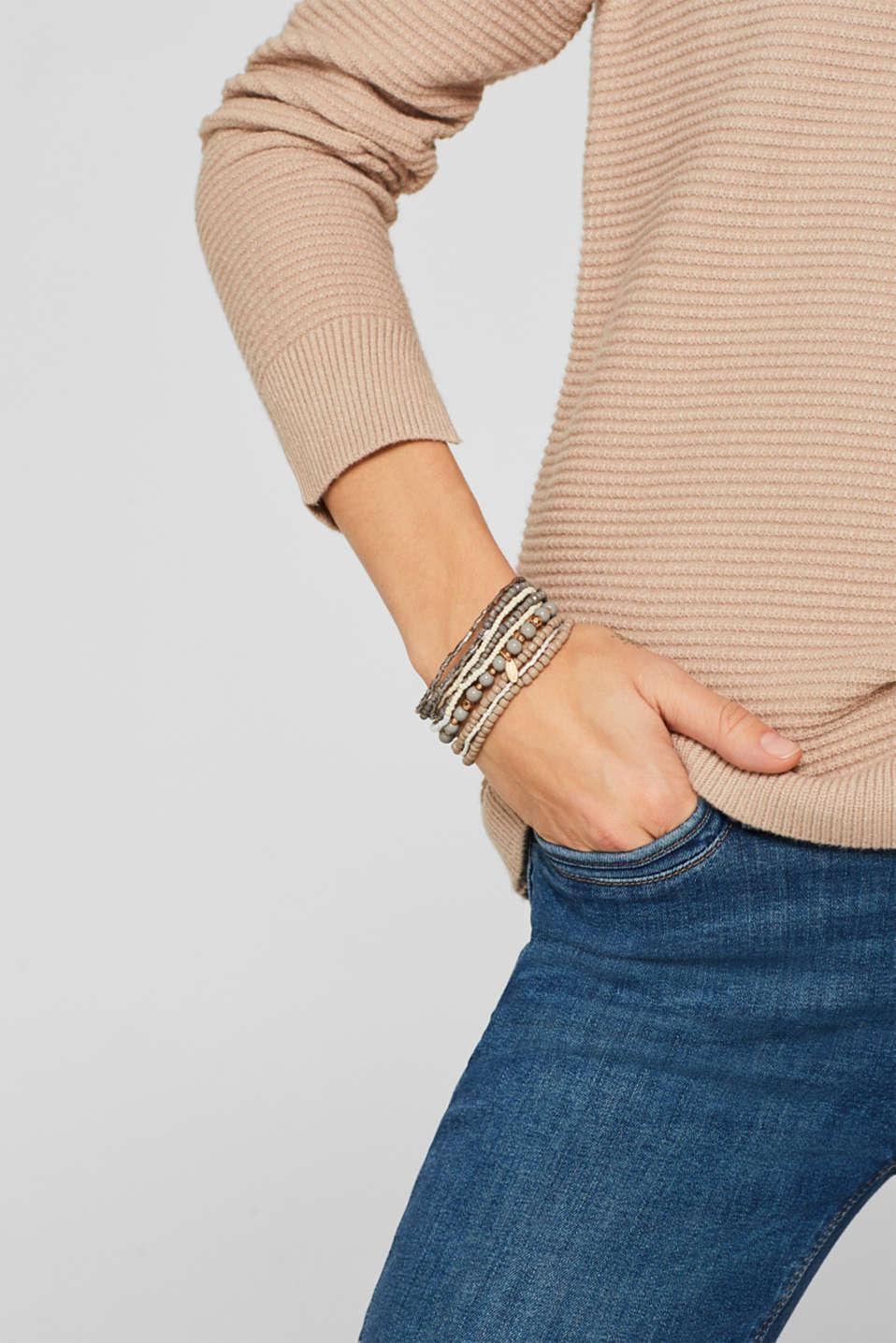 Set of nine bead bracelets, GREY, detail image number 2