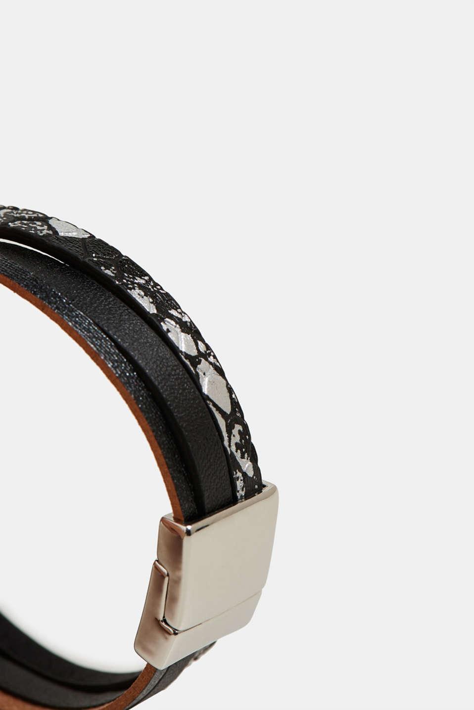 Faux leather bracelet, BLACK, detail image number 1