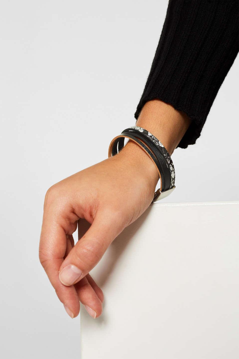 Faux leather bracelet, BLACK, detail image number 2