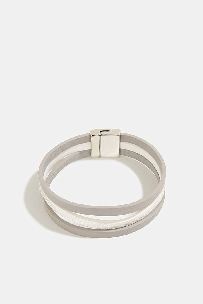 Magnet bracelet in faux leather, GREY, detail image number 0