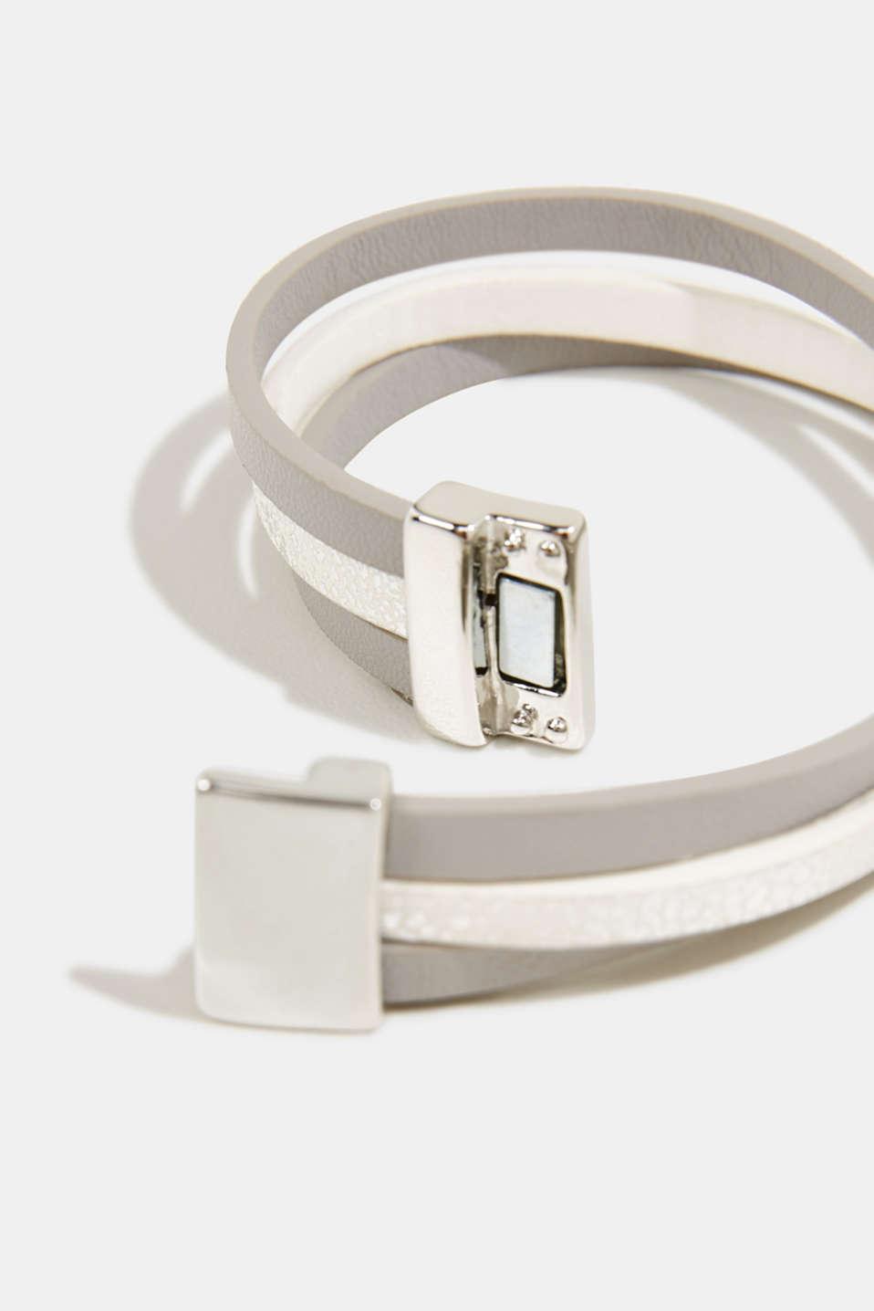 Magnet bracelet in faux leather, 1COLOR, detail image number 1