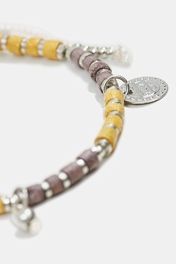 Bracelet with wood and metal beads, YELLOW, detail image number 1