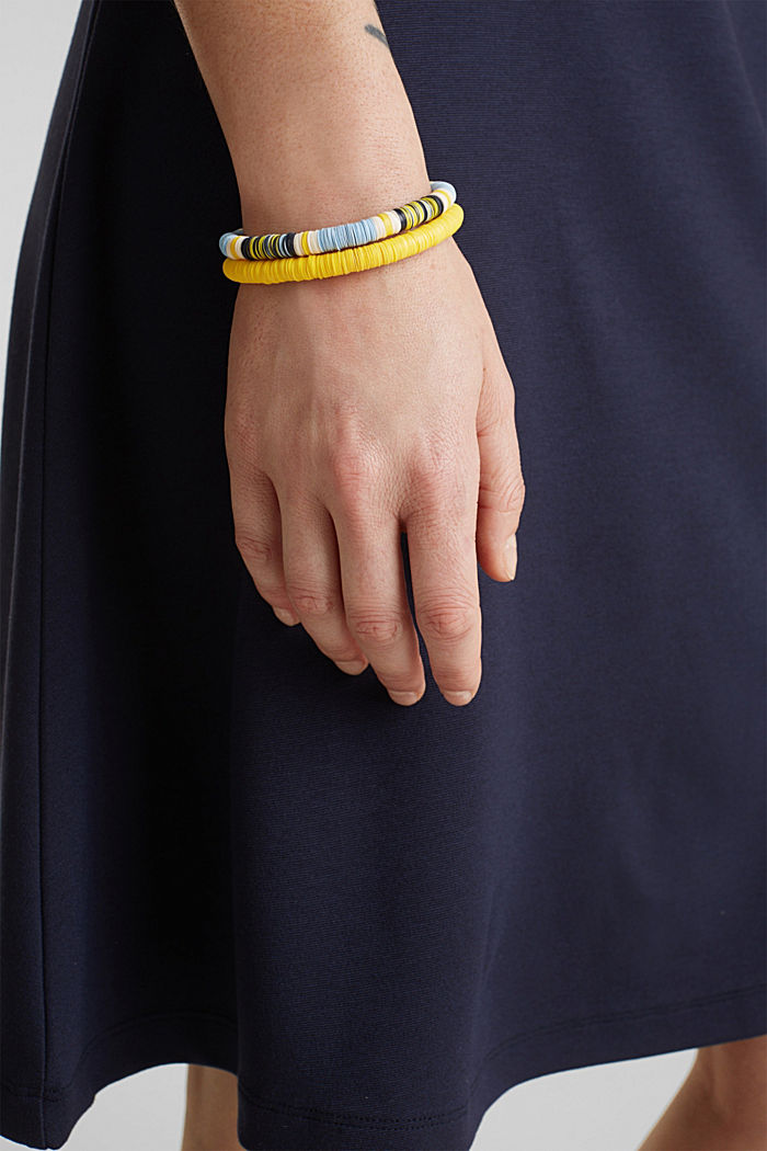 Set of two bracelets with multi-coloured discs, YELLOW, detail image number 2