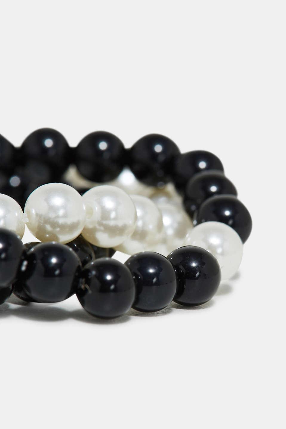 Triple set of bead bracelets, BLACK, detail image number 1