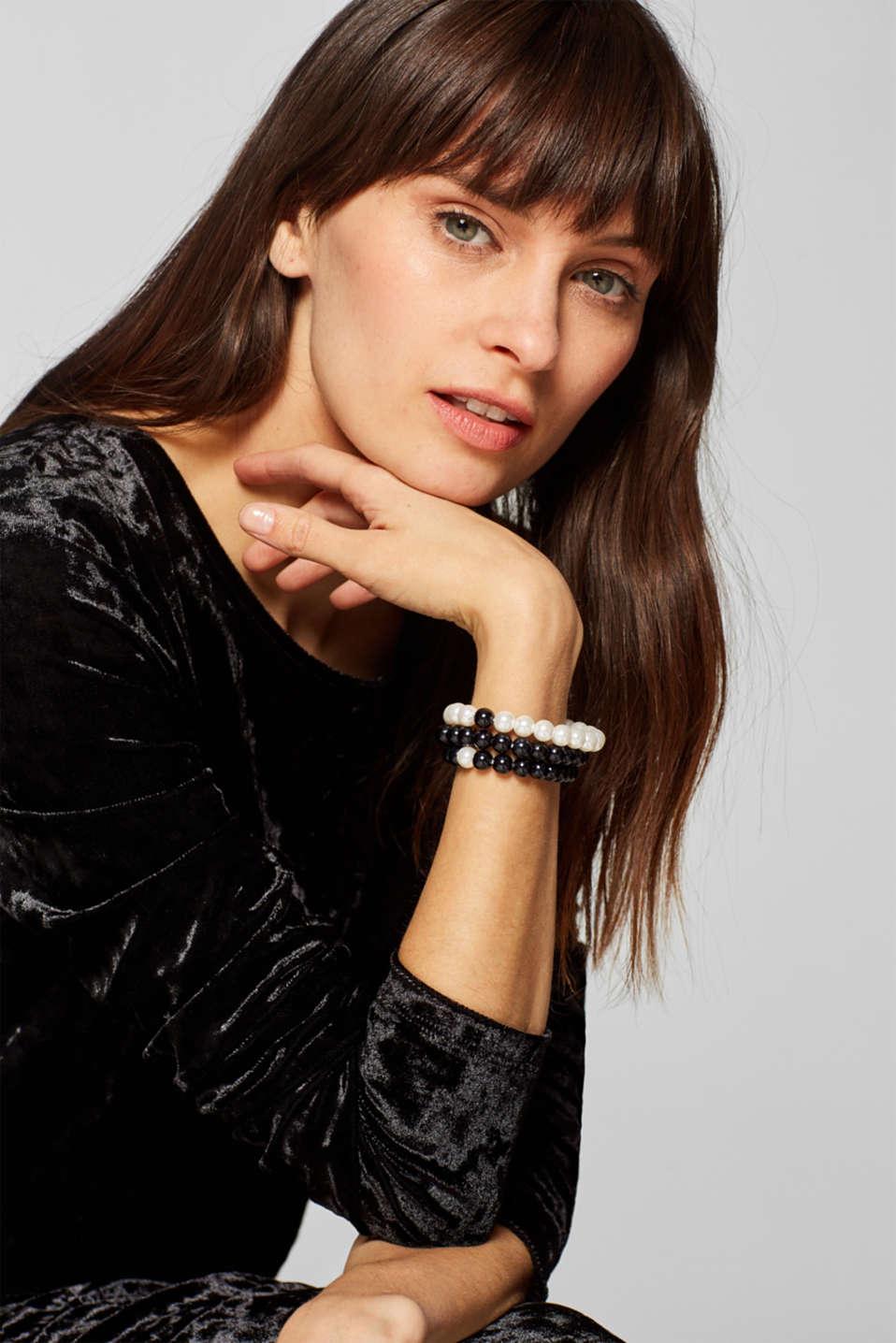 Triple set of bead bracelets, BLACK, detail image number 2