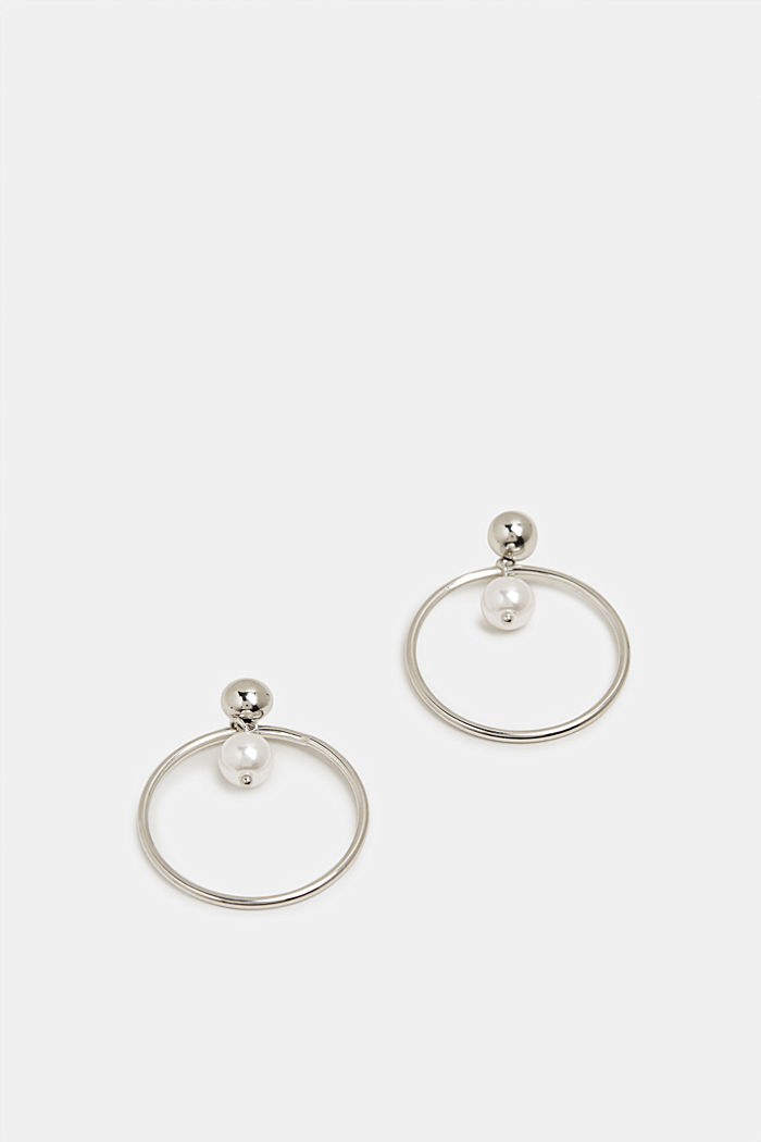 Stud earrings with a ring and bead, SILVER, detail image number 0