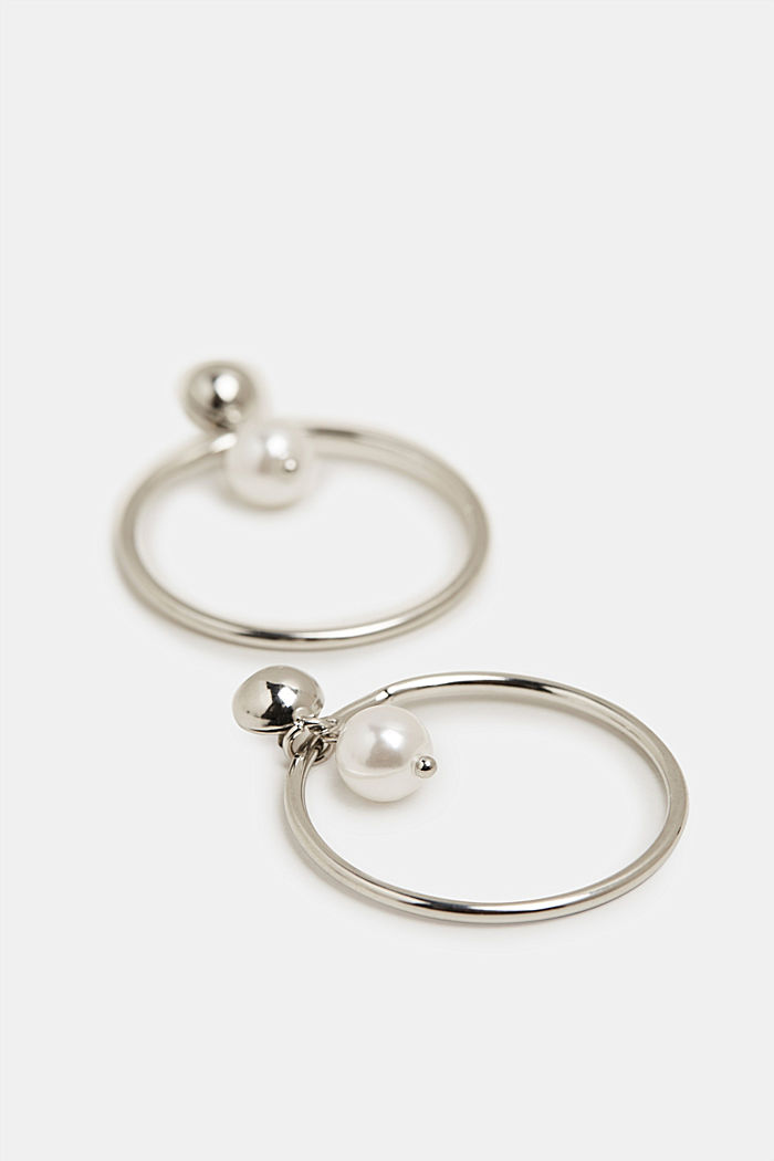 Stud earrings with a ring and bead, SILVER, detail image number 1