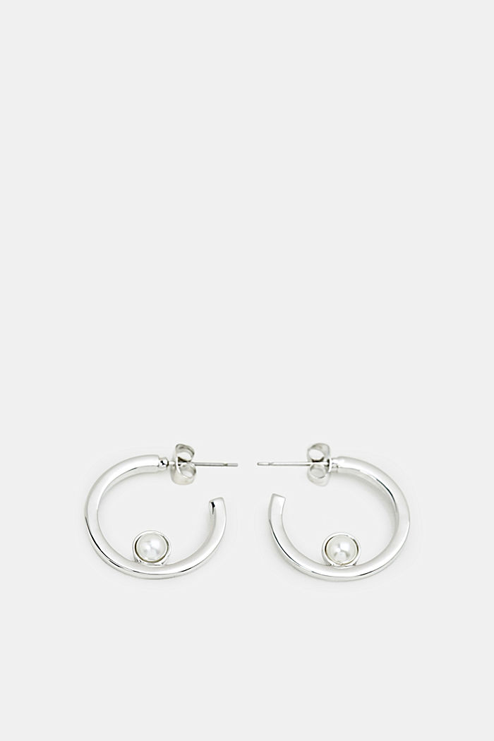 Hoop earrings with faux pearls, ONE COLOUR, detail image number 0