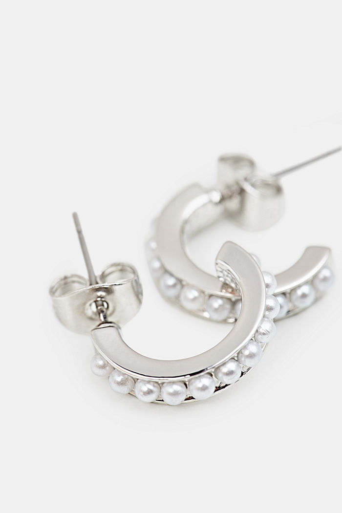 Hoop earrings with small faux pearls, LC1COLOR, detail image number 1