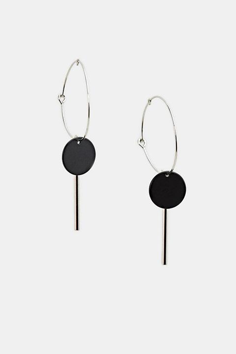 Metal hoop earrings with pendants