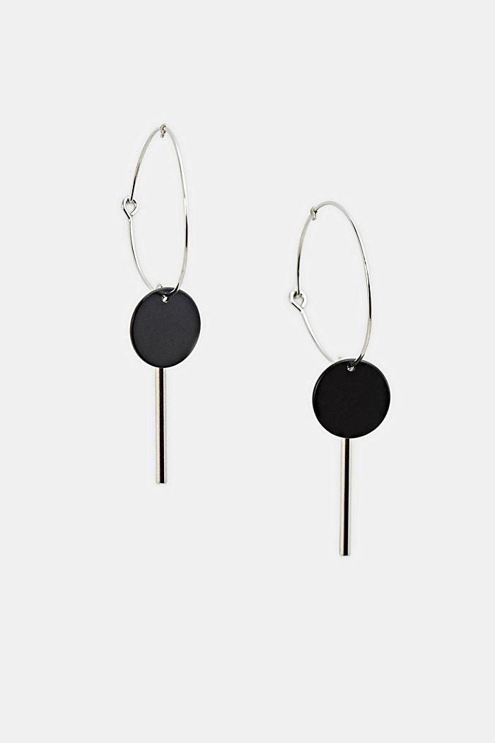 Metal hoop earrings with pendants, ONE COLOUR, detail image number 0